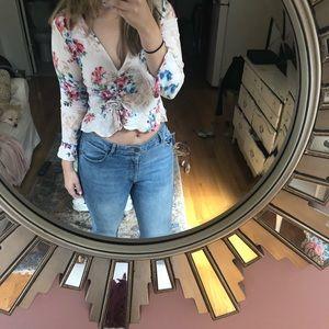 Floral deep v long sleeve top
